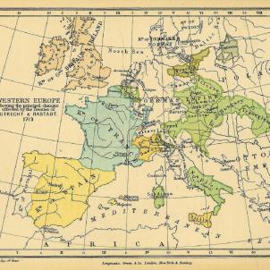 Tractat de Rastatt. Catalunya no aconsegueix passar a l'imperi austriac. Mapa resultant dels tractats d'Utrecht i Rastatt. Font Biblioteca de la Universitat de Texas