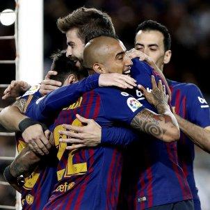 Vidal Pique Messi Busquets Barca Rayo Vallecano EFE