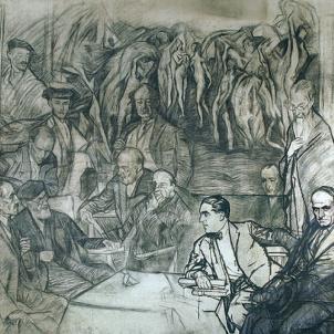 Els intel·lectuals castellans demanen a Primo de Rivera que no persegueixi el català. Dibuix al carbó dels amics del pintor Zuloaga. Font Museu Zuloaga. Zumaia (Guipúscoa)