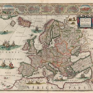 S'inicia la negociació d'incorporació de Catalunya a la monarquia francesa. Mapa d'Europa (1644). Font Bibliothèque Nationale de France