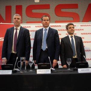 EuropaPress 2023380 (I D) El responsable de fabricación de la alianza Renault Nissan José Vicente de los Mozos; el presidente de Nissan Europa Gianluca de Ficchy; y el director de Nissan Motor Ibérica Genís Alonso