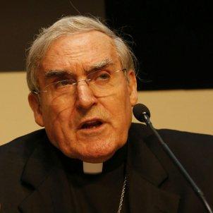 El cardenal Martínez Sistach, a la roda de premsa d'avui / Carles Badia