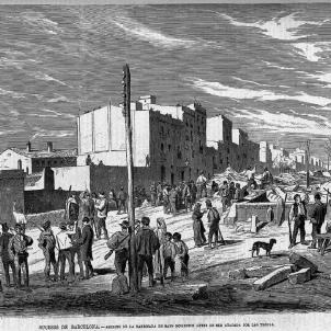 Esclata la Revolta de les Quintes. Gravat del carrer Major de Gràcia durant la Revolta de les Quintes (1870). Font Biblioteca Virtual de Prensa Histórica