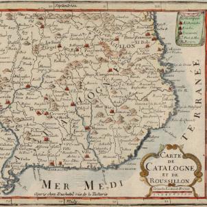 La Generalitat reclama al Borbó que retiri les tropes hispàniques de Catalunya. Mapa francès de Catalunya (1702). Font Cartoteca de Catalunya