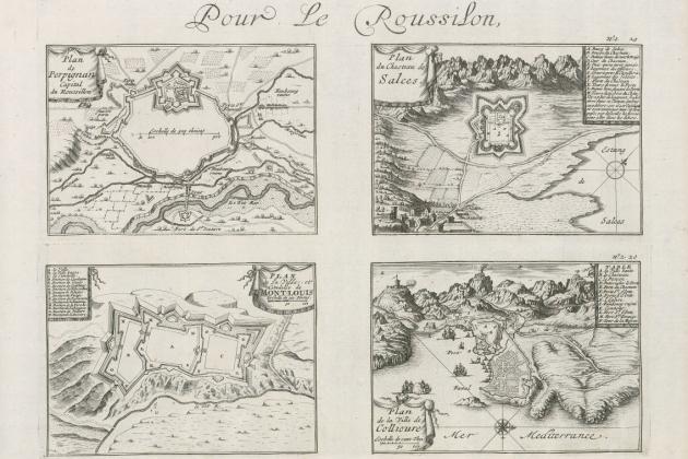 Plànols francesos de les viles fortificades dels comtats catalans nord pirinencs (1692). Font Cartoteca de Catalunya