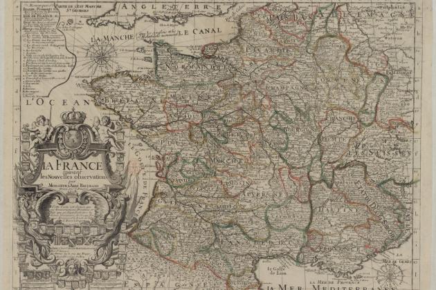 Mapa francès de França desprès de les incorporacions territorials de 1659 i de 1713 (1716). Font Bibliothèque Nationale de France