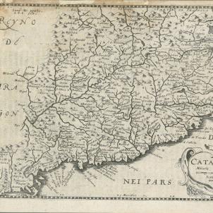 La Generalitat exigeix Felip IV l'alliberament dels consellers empresonats. Mapa neerlandès de Catalunya (1635). Font Cartoteca de Catalunya (1)