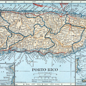 Els catalans de Puerto Rico passen a ser ciutadans protegits pels Estats Units. Mapa nord americà de Puerto Rico (1921). Font Collier's New Enciclopedia