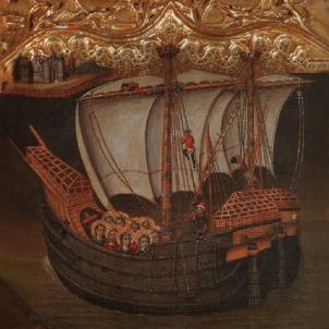 Felip V desballesta la marina de guerra catalana. Nau Santa Úrsula, de la marina de guerra catalana (Segle XV). Font Viquipedia