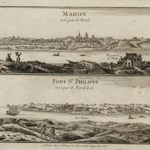 França inicia l'ocupació de Menorca. Gravat de Maó i del Fort Sant Felip (1756). Font Bibliothèque Nationale de France