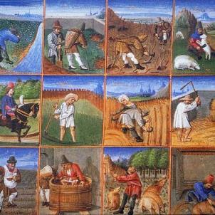 Ferran el Catòlic signa la fi dels mals usos remences. Calendari agrari francès. Font Wikimedia