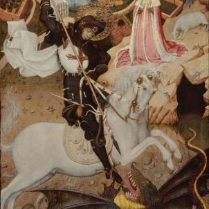 S'institueix la diada de Sant Jordi. Representació de Sant Jordi matant el drac obra de Bernat Martorell (1430). Font Art Institute of Chicago