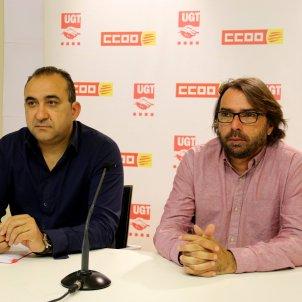 El secretari general de CCOO a Catalunya, Javier Pacheco, i el de la UGT, Camil Ros acn