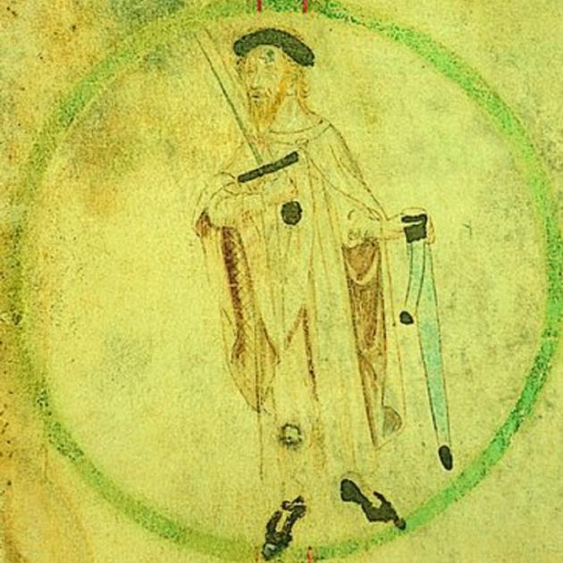 Mor Guifré II, el primer comte de Barcelona que va rebre el càrrec hereditàriament. Representació coetània de Guifré II. Font Enciclopedia
