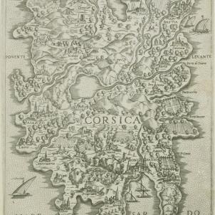 Els genovesos executen el governador català de Córsega.  Mapa de Còrsega (1554). Font Bibliothèque Nationale de France