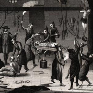 Gravat d'un interrogatori inquisitorial. Font Enciclopedia Britànica