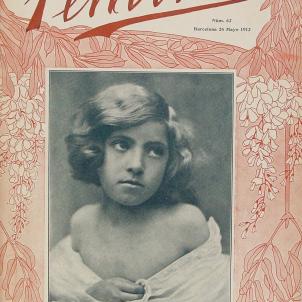 Apareix Feminal, la primera publicació feminista de Catalunya i de la península ibèrica. Portada del número 62 (Maig de 1912). Font Biblioteca Virtual Miguel de Cervantes