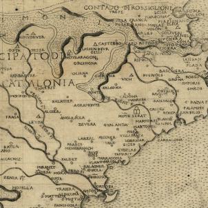 Joan de Trastàmara empenyora el Rosselló i la Cerdanya. Mapa italià de Catalunya (1482). Font Cartoteca de Catalunya