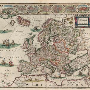 Mazzarino envia Peire de Marca per a posar ordre a la Guerra dels Segadors. Mapa d'Europa (1644). Font Bibliothèque Nationale de France