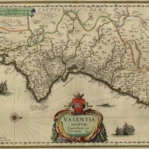 Les tropes borbóniques ocupen València. Mapa del País Valencià (1640). Font Cartoteca de Catalunya