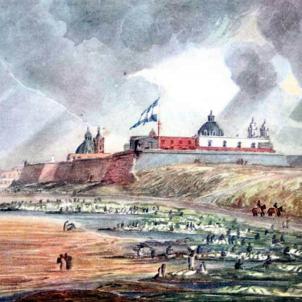 L'estol naval de Larreu derrota els espanyols a Riu del Plata. Vista de Buenos Aires (1820). Font Museo de la Casa Rosada (1)