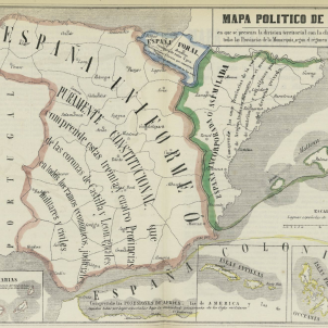 Els federalistes de la Corona d'Aragó signen el Pacte de Tortosa. Mapa politic d'Espanya (1850). Font Biblioteca Nacional de España
