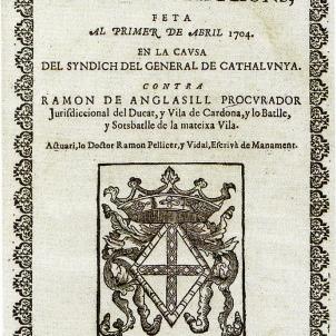 Portada d'una sentència del Tribunal de Contrafaccions. Font Arxiu de la Corona d'Aragó