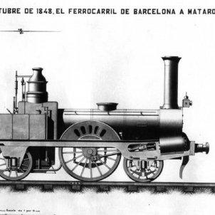 Test 59. Primera locomotora de la península ibèrica (1848). Font Museu del Ferrocarril