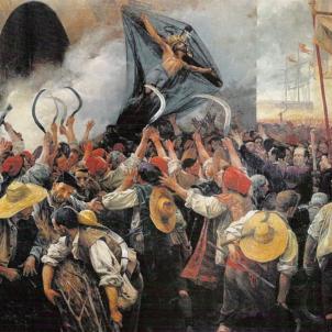 Els segadors assalten la masmorra i alliberen els presos. Representació moderna del Corpus de Sang. Font Enciclopedia
