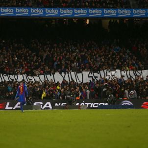 Pancarta Barça Espanyol Derbi Efe