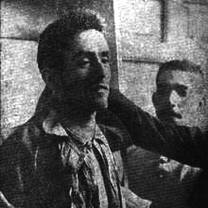 Assassinen Mateu Morral, l'anarquista que va atemptar contra Alfons XIII. El cadàver de Morral exposat al public. Font Llibertat