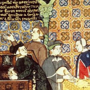 Representació de la Taula de Canvi de Barcelona (segle XV). Font Enciclopedia Britànica
