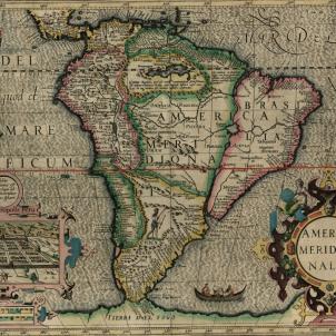 Refunden Buenos Aires, que s'anomenaria així en honor a la Mare de Deu del Bon Aire. Mapa de Sud Amèrica (1607). Font Cartoteca de Catalunya