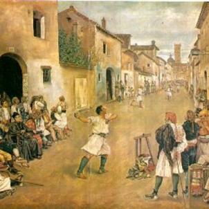 El Consell Municipal valencià prohibeix el joc de pilota. Representació moderna del joc de pilota tradicional (1881). Font Viquipedia
