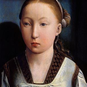 Coronen Caterina, la reina catalana d'Anglaterra. Caterina als 11 anys, pintada per John de Flanders. Font Wikipedia