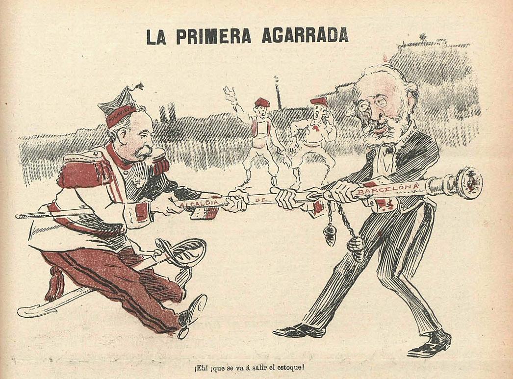 Test 64. El Tancament de caixes. Caricatura publicada a la revista Gedeon (1899). Font Biblioteca Nacional de España