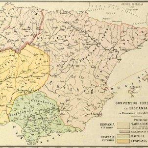 Test 65. Els Paisos Catalans durant la dominació romana. Mapa divisió conventual península ibèrica. Font Biblioteca Nacional de España