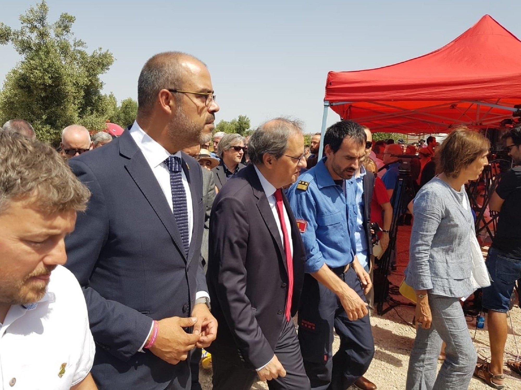 Miquel Buch president Quim Torra homenaje incendio Horta Sant Joan - EuropaPress