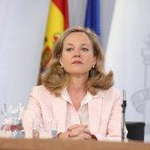 EuropaPress 2303232 La ministra de Economía en funciones Nadia Calviño durante la rueda de prensa posterior al Consejo de Ministros en La Moncloa