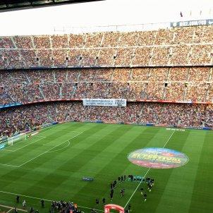 Pancarta autodeterminació Catalunya Camp Nou Barça Arsenal Gamper Bernat Aguilar