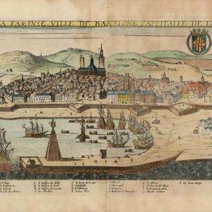 Test 70. Platges amb història. Gravat del port i la platja de Barcelona (1650). Font Cartoteca de Catalunya