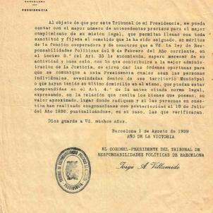 El regim franquista ordena delatar els republicans que tenen propietats. Memoràndum del TRRP. Font Diputació de Barcelona