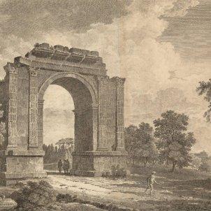 Test 71. Monuments històrics catalans. Gravat de l'Arc de Berà (1806) obra d'Alexandre de Laborde. Font Cartoteca de Catalunya