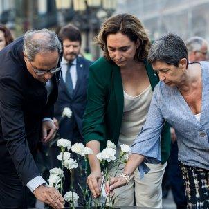 segon aniversari atemptats rambla barcelona quim torra president ada colau alcaldesa ofrena floral flors (bona qualitat) - Carles Palacio