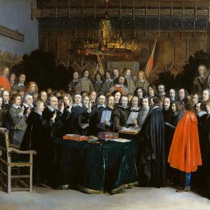 Nomenen Fontanella representant de Catalunya a les negociacions de Pau de Westfalia. Representació de la ratificació del Tractat de Westfalia (1648), obra de Gerard ter Borch. Font Wikimedia Commons