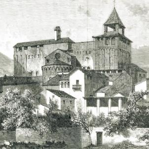 Test 72. Catedrals catalanes. Gravat de la catedral de la Seu d'Urgell (1874). Font Magazine L'Illustration. Paris