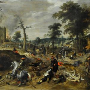 Representació de l'atac de l'exèrcit a una vila croquant. Quarta Jacqueria. Obra de Sebastien Vrancx (1640). Font Wikimedia Commons