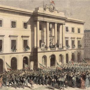 Test 73. Alcaldes de Barcelona que han fet història. Gravat de l'Ajuntament de Barcelona (circa 1870). Font Cartoteca de Catalunya