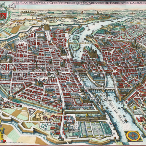 Gravat de París (1615), obra de Mathaus Merian. Font Wikimedia Commons