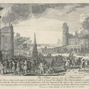 Test 74. L'assalt borbònic de l'11 de setembre de 1714. Gravat de l'assalt (1750) obra de Jacques Rigaud. Font Cartoteca de Catalunya